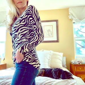 H&M Soft Zebra Animal Print Long Cardigan Sweater